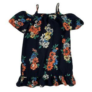 Monteau Girl Black Floral Dress Sz 6 Cold Shoulder